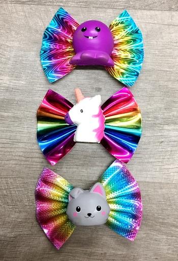 Image Rainbow Bow Squishie Clippie