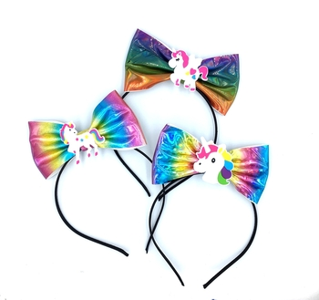 Image Hologram Bow Unicorn Headband