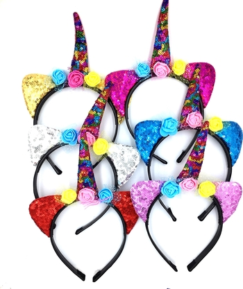 Image Sequin Colorful Cat Unicorn Headband