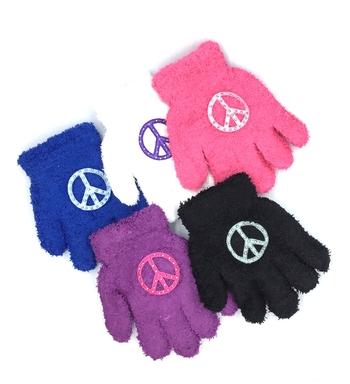 Image Child Gloves with Rhinestone Peace