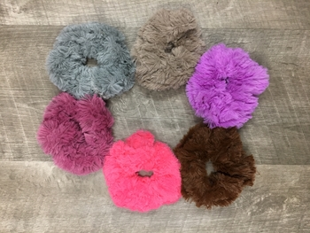 Image Faux Fur Scrunchies Jewel tone