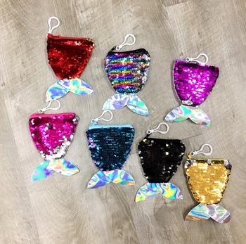 Image Mermaid Flipping Sequin Purse Key Chain Primary