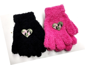 Image Child Size Peace & Love Fuzzy Gloves