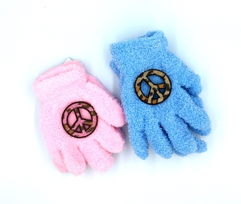 Image Child Size Animal Peace Fuzzy Gloves