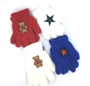 Image Child Size Plaid Patch Fuzzy Gloves