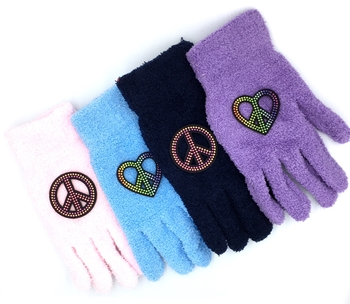 Image Fuzzy Studded Peace Gloves