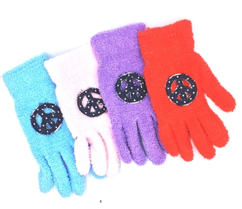 Image Denim Peace Fuzzy Gloves