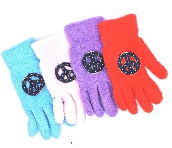 Image Denim Peace Fuzzy Gloves