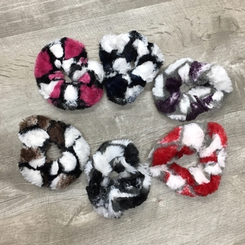Image Color Block Fur Scrunchies