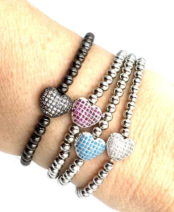Image Pave Heart Beaded Bracelet