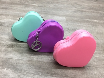 Image Silicone Heart Purse Keychain
