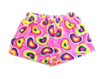 Image Rainbow Heart Fun Fuzzie Pajama Shorts