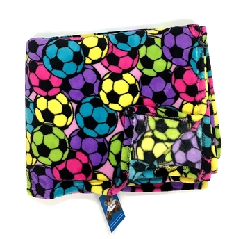Image Pastel Soccer Fuzzie Blanket