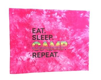 Image Eat Sleep Camp Repeat Autograph Jersey Pillow Case