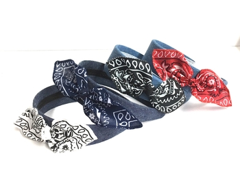 Image Bandana Bow Primary Colors Denim Headband