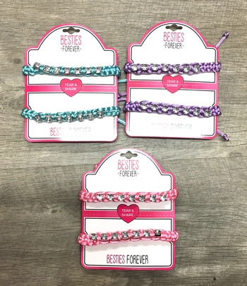 Image Tear & Share Pastel Rhinestone Macrame Pull tie Bracelet set
