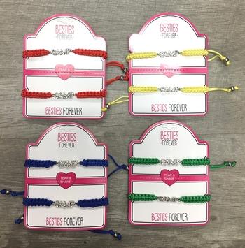 Image Tear & Share Rhinestone Camp Pull Tie Bracelet Set
