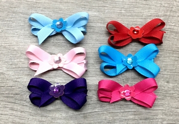 Image Tiny Grossgrain Standup Bow with Patent Flower Clippie