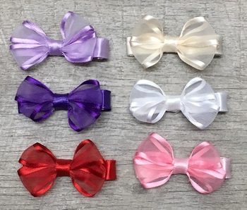 Image Satin Edge Chiffon Bow Clippie