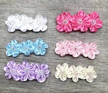 Image Triple Satin Beaded Flower Snappy