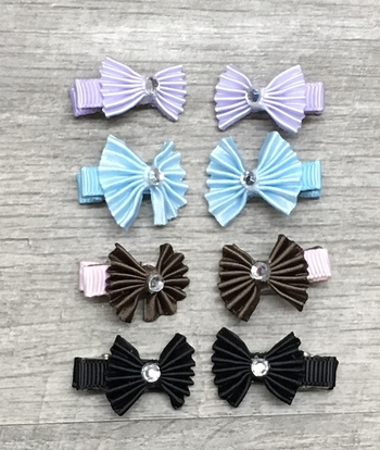 Image Pleated Bow Tiny Clippie Pair