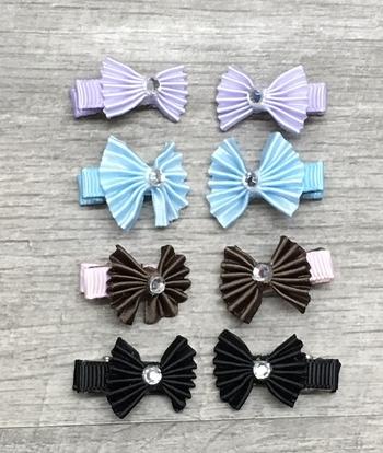 Image Pleated Bow Tiny Clippie Pair