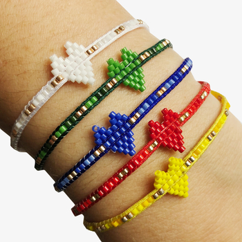 Image Beaded Heart Pulltie Bracelet Camp Colors