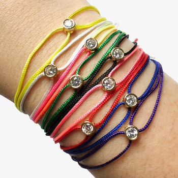 Image Double Loop Bezel Stone Pull Tie Bracelet Fashion