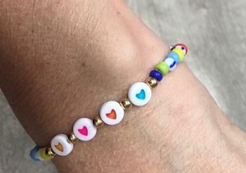 Image Rainbow Hearts Stretch Bracelet