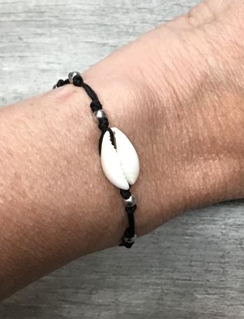 Image Shell on Black Cord Bracelet
