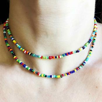 Image Indian Bead Tiny Shamballa Necklace