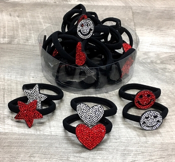 Image Rhinestone Shape Ponys in Red & White