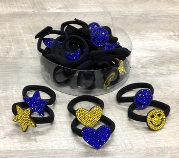 Image Rhinestone Shape Ponys in Blue & Yellow