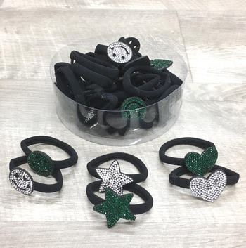 Image Rhinestone Shape Ponys in Green & White
