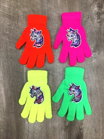 Image Sequin Unicorn Neon Gloves