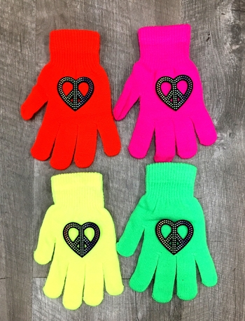 Image Rainbow Heart Peace Neon Gloves