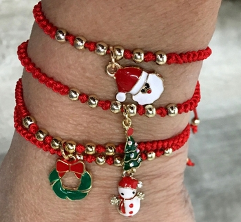 Image Christmas Themed Pull Tie Bracelets