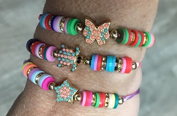 Image Embellished Star, Butterfly, Turtle Rainbow Shell Pull Tie Bracelet