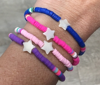 Image Rainbow Bright Star Stretchy Bracelet