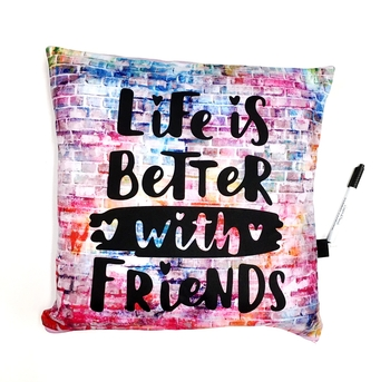 Image Rainbow Brick Wall with Life is Better Autograph Pillow