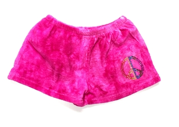 Image Pink Tie Dye Fuzzy Pajama Rhinestone Peace Shorts