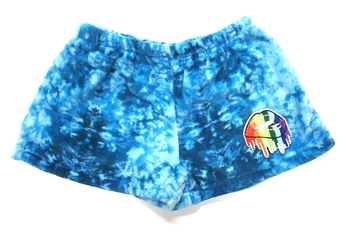 Image Blue Tie Dye Fuzzie Pajama Shorts Dripping Lips