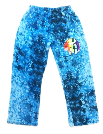 Image Blue Tie Dye Fuzzie Pants with Dripping Lips
