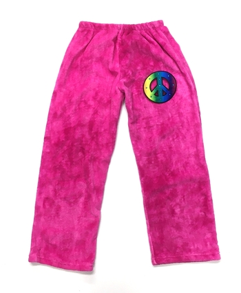 Image Pink Tie Dye Fuzzie Pants with Rainbow Peace Sign
