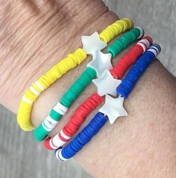 Image Color War Star Beaded Stretch Bracelet