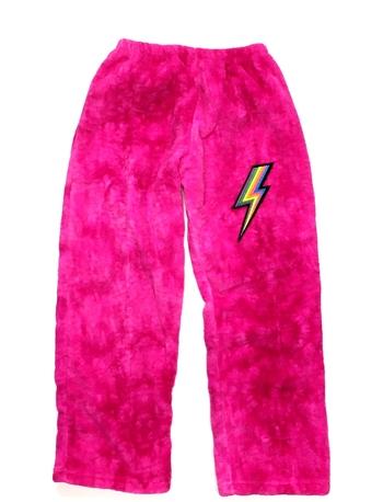Image Pink Tie Dye Fuzzie Pants with Lightening Bolt