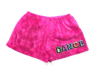 Image Pink Tie Dye Fuzzy Pajama Shorts with Dance