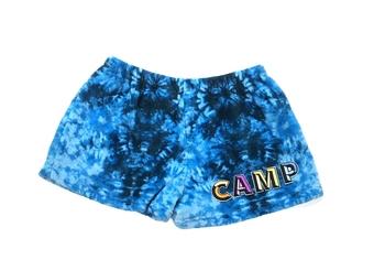 Image Blue Tie Dye Fuzzie Pajama Camp Shorts