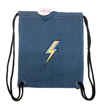 Image Denim Rainbow Lightening Bolt Sling Bag