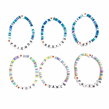 Image Rainbow Beaded Pastel & Blues Stretch Bracelets